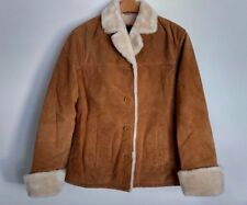 ADLER Collection Women's Genuine Tan Suede and Faux Fur Winter Coat Size M