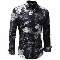 Fashion Mens Luxury Stylish Floral Slim Fit Long Sleeve Dress Shirt Casual Tops