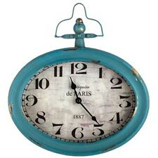 Large Antique Teal Oval Metal Wall Clock with Top Handle.Functional accent Decor