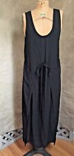 Lagenlook Black German APRON DRESS SATIN-BACKED RAYON Guarantee Brand USA Medium