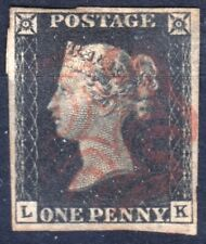 Great Britain 1840 Queen Victoria SG no 1, Penny Black, Used. Plate letters LK.