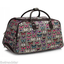Ladies Travel Bags Holdall Hand Luggage Women's Weekend Handbag Wheeled Trolley Grey Butterfly S1