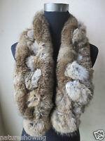 Winter Warm Scarf Real Whole Rabbit Fur Handmade Natural Brown