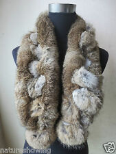 Winter Warm Real Whole rabbit fur handmade scarf //natural brown