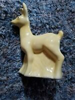 Vintage Large Yellow Pottery Deer and Stump Planter 8 1/2 in tall Haeger?