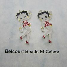 2 Betty Boop Metal and Enamel Pendants 4.5cm by 2cm by 1mm Thick