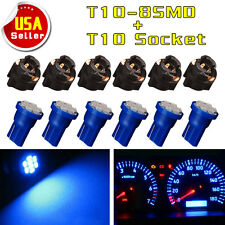 6x T10 LED Bulb Instrument Panel Cluster Dash Light Twist Lock Socket Blue PC194
