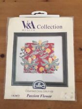 Counted Cross Stitch Kit Tapestry DMC V&A Collection Passion Flower 17.5 x 17.5