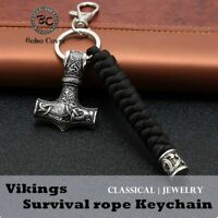 Vintage Handmade Keychain Viking Rune Hammer Car KeyRing mjolnir Outdoor Mountai