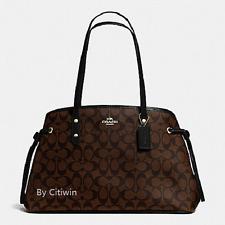 New Coach F57842 Drawstring Carryall Shoulder Bag Tote Handbag Purse Brown Black