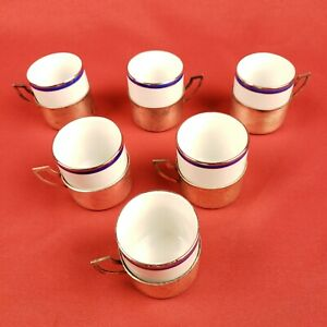 6 Kronester Bavaria Porcelain Cups and Holders with Blue and Silver Trim