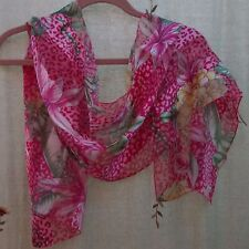 Shades of Pink Floral & Animal Print, Satin Stripe, Oblong Scarf