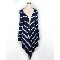 Soft Surroundings Blue White Tie Dye Wrap Cardigan Sweater Women's Size Large