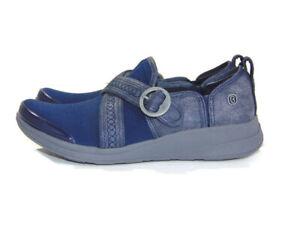 BZees Loafers Blue Gray Slip-ons Cross Buckle Straps Foam Comfort Women Size 6