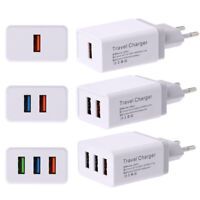 HB- Multi Port USB Travel Charger DC 5V/2.4A Rapid Charging Cell Phone Power Ada