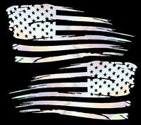 USA American Distressed Flag Fender Bumper Truck Decal Sticker Reflective OilS.