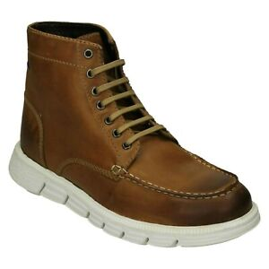 BASE LONDON MENS TAN LEATHER LACE UP CASUAL LIGHTWEIGHT WINTER ANKLE BOOTS NEVIS