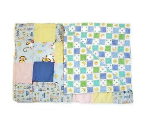 Handmade Baby Quilt Blanket Reversible Unique Multicolor Monkey Car Truck Moon