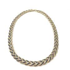 Vintage Signed D'orlan Black Enamel Choker Necklace