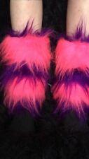 Cheshire Cat Leg Cuffs Luxury Pink & Purple Fur Leg Warmers One Size Fancy Dress