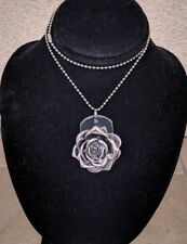 Kate Mesta Flower Rose Black Leather Dog Tag Pendant Necklace