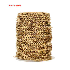 2meters Gold Plated Stainless Steel 4mm Width Curb Link Chains for DIY Jewelry