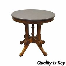 Antique Victorian Marble Top Carved Walnut Oval Eastlake Side Table vintage