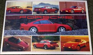 Vintage Original 1987 PORSCHE 7 Models Sports Cars Collage 24x36 Wall POSTER