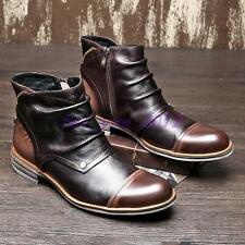 Mens Formal Side Zip Leather British Round Toe Dress Ankle Boots Shoes US 5-10