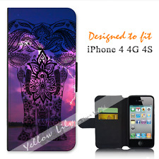 For Apple iPhone 4 4G 4S Wallet Flip Phone Case Cover Elephant White Y00846