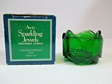 """Avon Sparkling Jewels Stackable Candle Holder No Candle Green Collectible 1.25"""""""