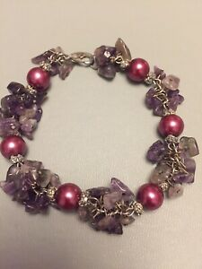 Amathyst Crystal Pretty Beaded Bracelet Excellent Condition