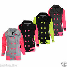 Womens Ladies Fleece Neon Colours Double Breasted Jacket With Detachable Hoodies