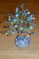 6 inch-Beautiful AMETHYST and APATITE gem tree on an AMETHYST crystal base