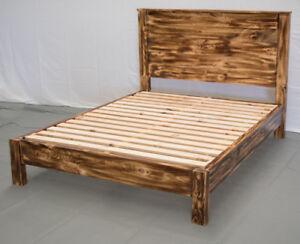 Torched Farmhouse Platform Bed & Headboard - King / Wood Platform Reclaimed Bed/