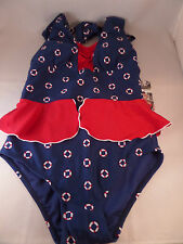 NWT Fables By Barrie 1pc Badeanzug Navy liferings Größe 1X Pin Up Retro Vintage