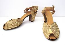 Vtg 40s WWII 50s Rockabilly Sparkly Gold Peep Toe Bombshell Shoes Chunky Heels 8