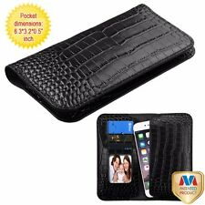 GENUINE REAL LEATHER Cell Phone Case Pouch Wallet Crocodile Skin Embossed Cover