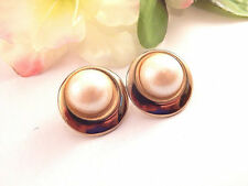 White Faux Pearl Dot Earrings Gold Metal Framed Cabochon Domes VTG 1970s Jewelry