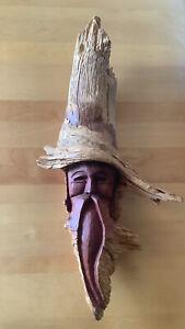 Vtg Hand Carved Signed Wood Spirit Old Man Face Tree Driftwood Sculpture '81 JR
