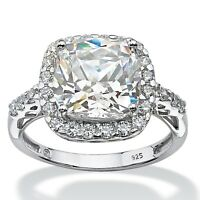 5.78 TCW Created White Sapphire Platinum over .925 Halo Engagement Ring