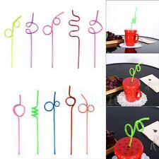 Multi Color 10pcs Straws Crazy Curly Loop Drinking Straws  Birthday Party TP