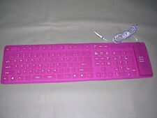 USB Enabled Flexible Keyboard w/ Numeric Keypad Pink Portable Roll-Up Travel GW