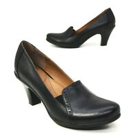 """Söfft Shoes 9 M Black Leather Gloria High Heel Loafer Pumps 3"""" Sofft Round Toe"""