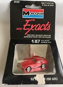 VINTAGE MONOGRAM MINI EXACTS FERRARI 250 GTO DIECAST & PLASTIC CAR 1/87 HO TRAIN