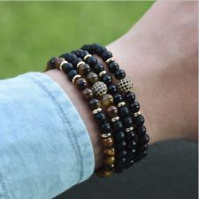 Fashion Men's Cubic Zirconia Ball Bracelet Natural Matte Onyx Charm Bracelet Set