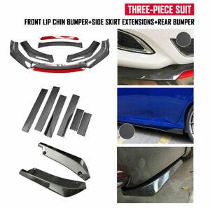 "Fits Hyundai Nissan Carbon Fiber Front Bumper Spoiler +86.6"" Side Skirt Rear Lip"