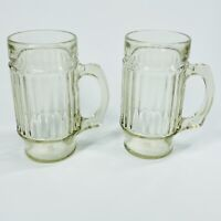 2 VINTAGE Glass Beer Steins, Root beer Float Mugs with Handles (SHLF)