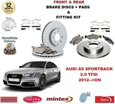 FOR AUDI A5 HATCH 2.0 TFSI 2012>ON FRONT + REAR BRAKE DISCS & PADS + FITTING KIT