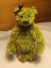 """Miniature Hand Sewn 3"""" Green & Yellow Mohair Teddy Bear PURSE by L. Wright"""